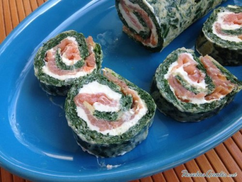 Rollo de salmón con espinaca. Por Recetas gratis