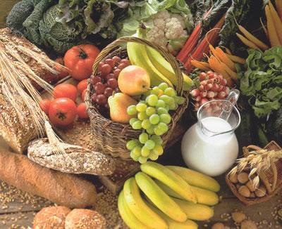 verduras, frutas, pan, leche, vegetables, fruits, bread, milk